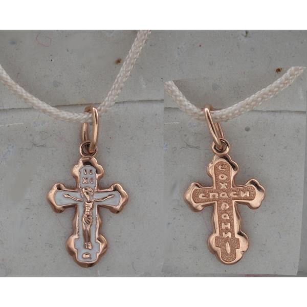 Золотой крестик с эмалью (арт. А11П0116046)