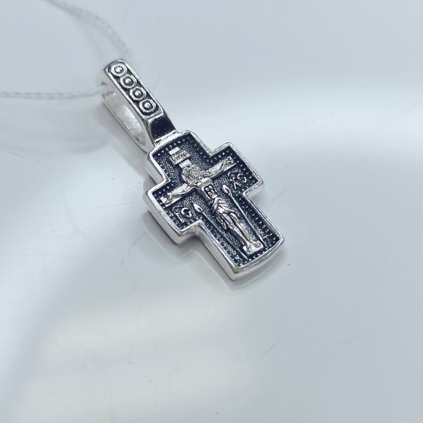 Православный серебряный крест с Казанской Богородицей А-014